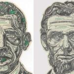 Mark Wagner crează colaje artistice folosind ca material dolarul